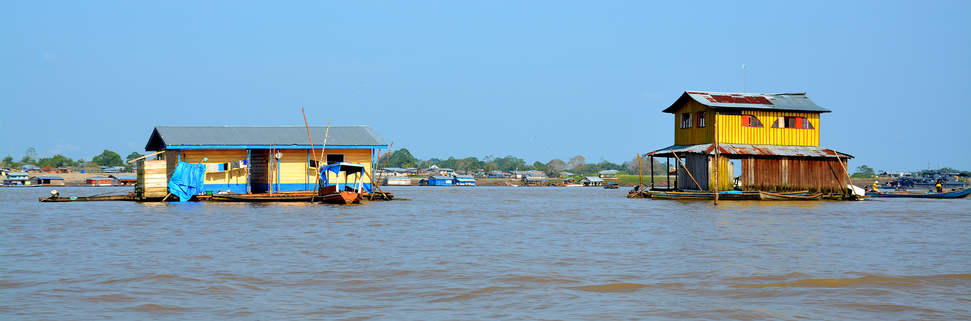 Floating houses on the Amazon