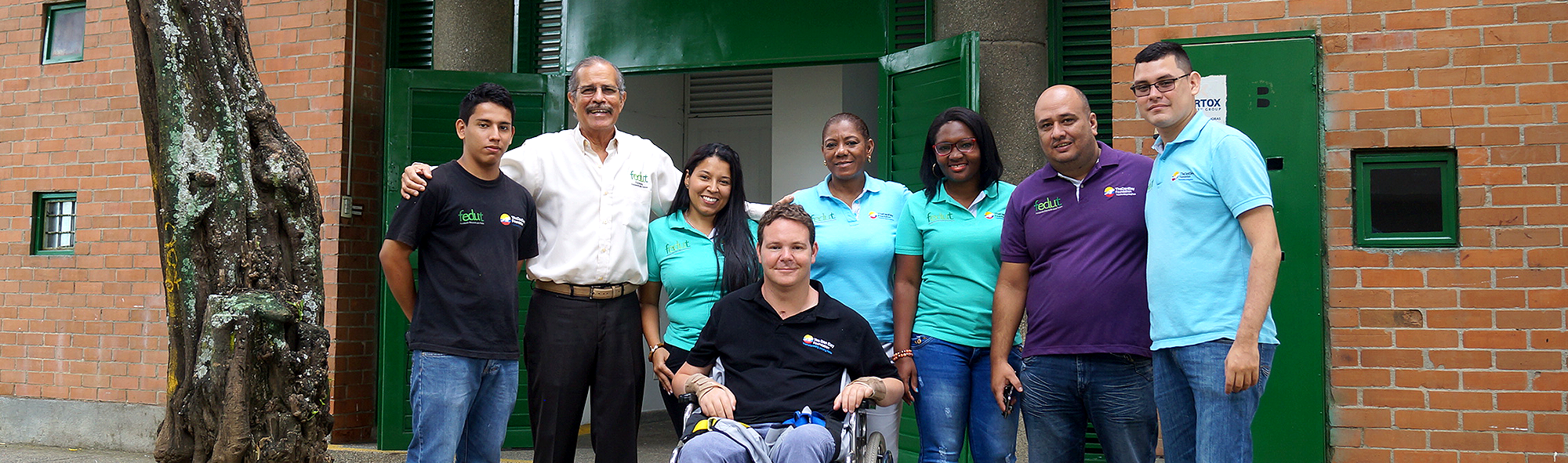 Dan Eley with partner charity's FEDUT team in Colombia