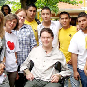 Dan Eley with a group of graduates from one of the charity's training schemes