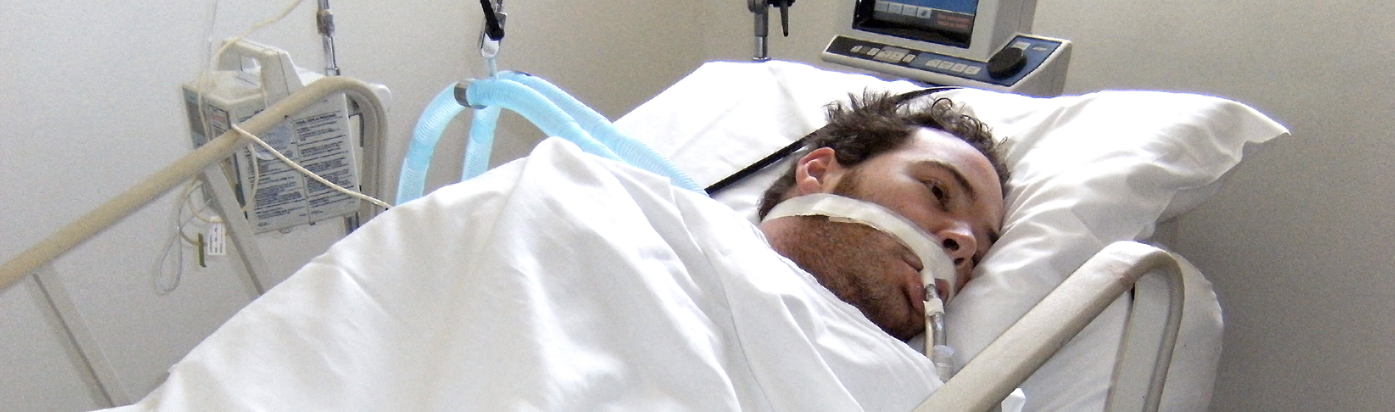 Dan Eley in a hospital bed after his accident in Columbia, three days after his accident