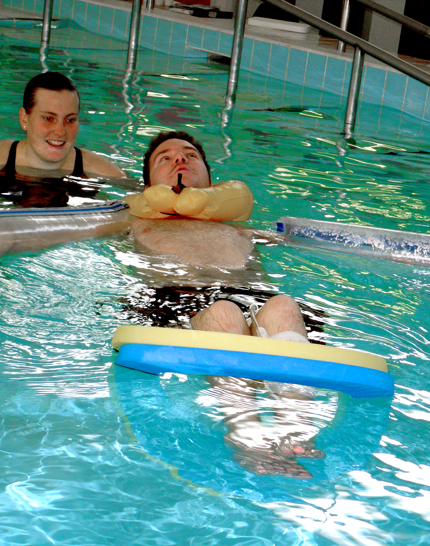 Dan Eley in Hydrotherapy session which is beneficial exercise for SCI
